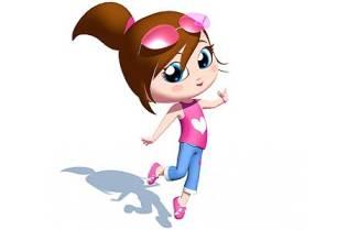 happy girl cartoon